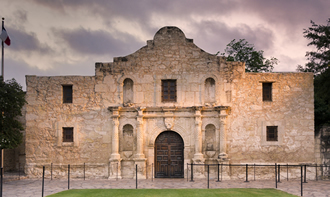 Front Saturated View of the Alamo in Texas